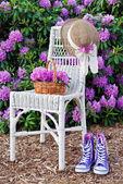 Purple sneakers in garden — Stock Photo