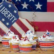 Holiday Patriotic Cupcakes — Stock Photo