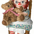 Rag doll with teddy — Stockfoto
