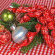 Holiday Ornaments with ribbon - Stock Photo