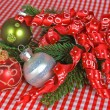 Holiday Ornaments with ribbon — Stock Photo #11114096