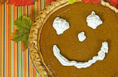 Fun fall pumpkin pie — Stock Photo