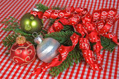 Holiday Ornaments with ribbon — Stock Photo