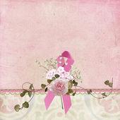 Pink Ribbon and rose border — Stock Photo