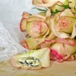 Wedding roses with rings — Stock Photo