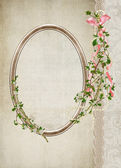 Vintage oval frame with bouquet — Stock Photo