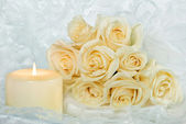 Wedding Roses and Candle — Stock Photo