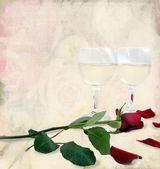 浪漫玫瑰和红酒 — 图库照片