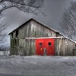 Red barn door — Stock Photo