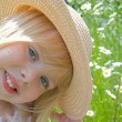 Blond little girl in summer hat — Stock Photo