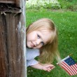 Girl with American flag — Stock Photo