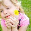 Girl with lady bug and dandelion — Stock Photo