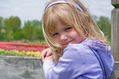Girl on a fence — Stock Photo