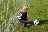 Little soccer goalie — Stock Photo