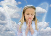 Blond angel praying — Stock Photo
