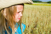 Girl with western hat — Stock Photo