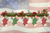 Patriottische kerstmis kousen — Stockfoto