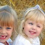 Little girls on the farm — Stock Photo
