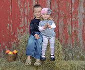 Siblings on Hay Bale — Stock Photo