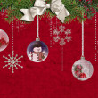 Hanging Holiday ornaments with bow — Stock Photo #11243674