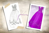Fancy Gown with sketch — Stock Photo