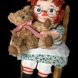 Rag doll with teddy bear — Stockfoto