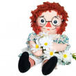 Rag doll with daisies — Stock Photo
