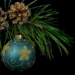 Pine cones with ornament — Stock Photo
