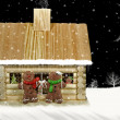 Christmas log cabin — 图库照片