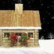 Christmas log cabin — Stock Photo