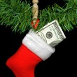 Christmas Stocking with money — Stock Photo