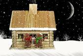 Boże Narodzenie chatce — Zdjęcie stockowe