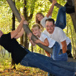 Foto Stock: Family in forest