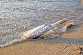 Beached Birthday Bottle — Stock Photo