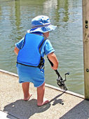 Little boy blue fishing — Stock Photo