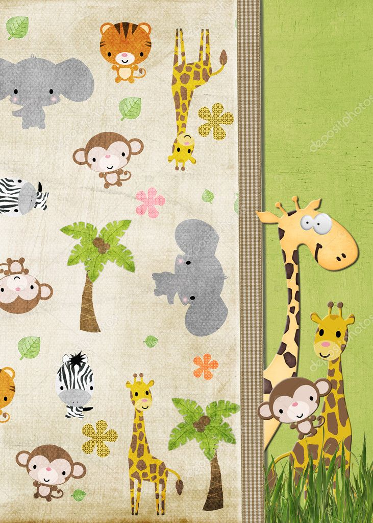 Jungle animals with gingham ribbon border. — Stock Photo #11377417