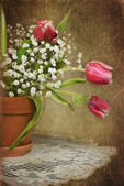 Tulip bouquet in clay pot — Stockfoto