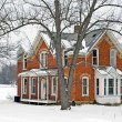 Vintage House in winter — Stock Photo