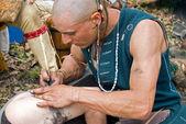 Native American Tattooist — Stock Photo