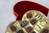 Valentine Chocolates in heart box — Stock Photo