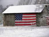 American barn in winter — Stockfoto