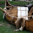 Indian Canoe with furs — Stock Photo
