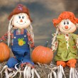 Fall scarecrow couple — Stock Photo
