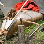 Old Ax with canoe — Stock Photo
