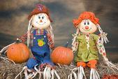 Fall scarecrow couple — Stock Photo