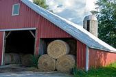 Hay bales in barn — Stock Photo