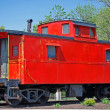 bright red caboose — Stock Photo