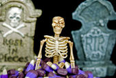 Skeleton in corn candy — Stock Photo