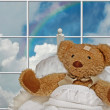Teddy bear in bed — Stock Photo