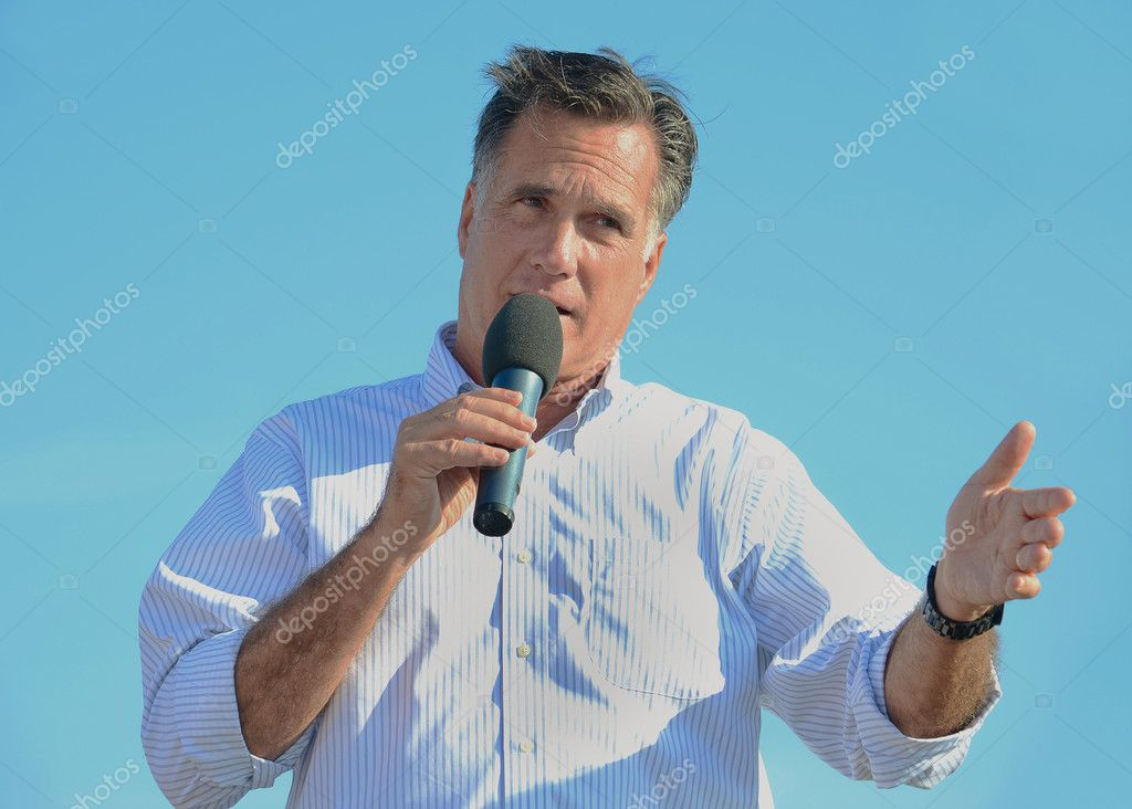Mitt Romney speaking at a campaign rally.  Stock Photo #11684581